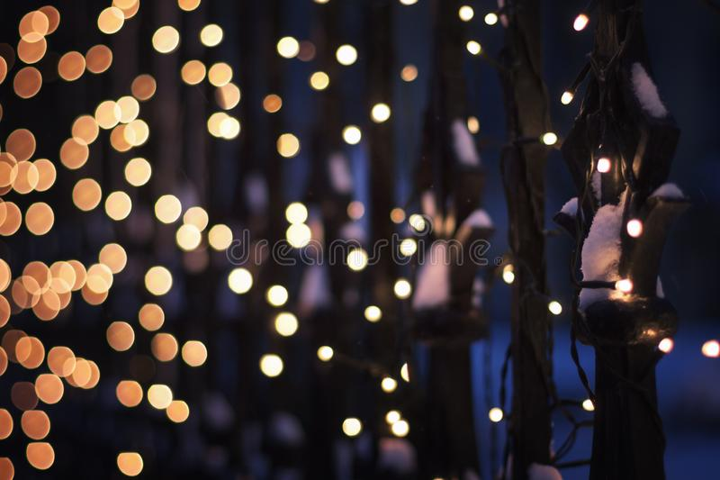Festive illumination on the fence in the evening winter time, ab stock images
