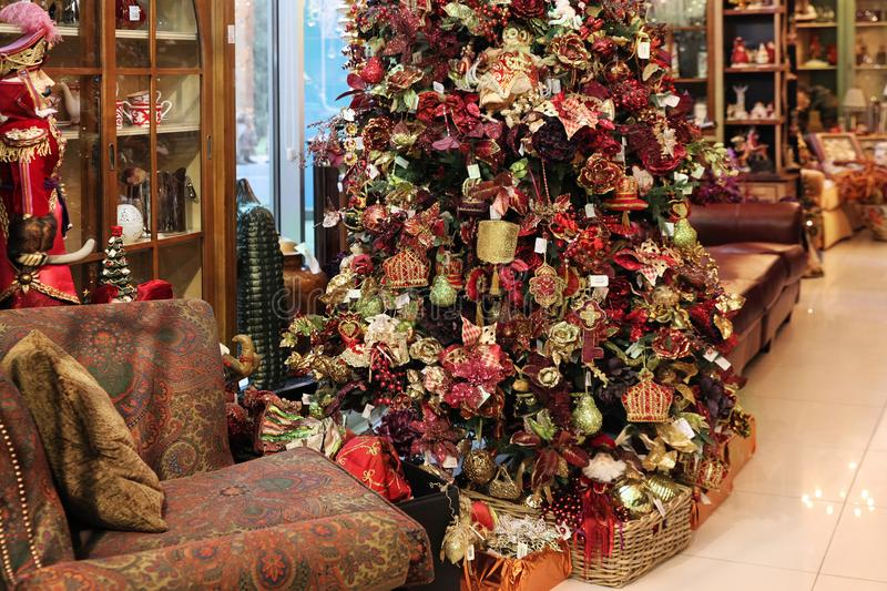 Festive interior with Christmas tree. Beautiful Festive interior with Christmas tree royalty free stock photography