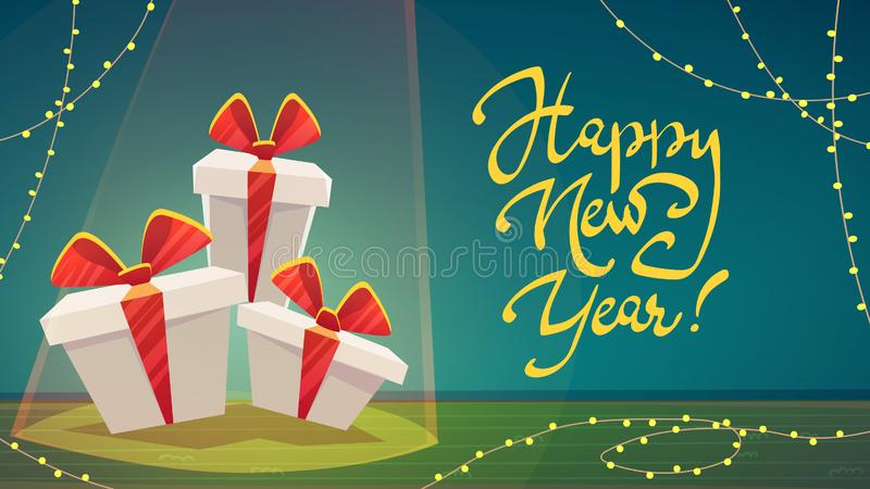 Festive interior of living room on eve of happy new year. Christmas gift box and decorative wreath, holiday gifts boxes, table, la vector illustration