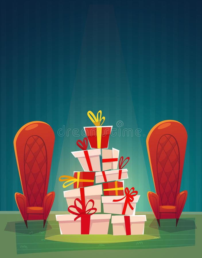 Festive interior of living room on eve of happy new year. Christmas gift box and decorative wreath, holiday gifts boxes, table, la royalty free illustration