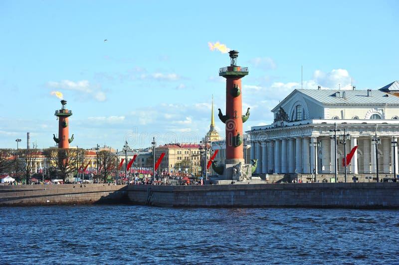Festive look on the arrow of Vasilevsky island stock images