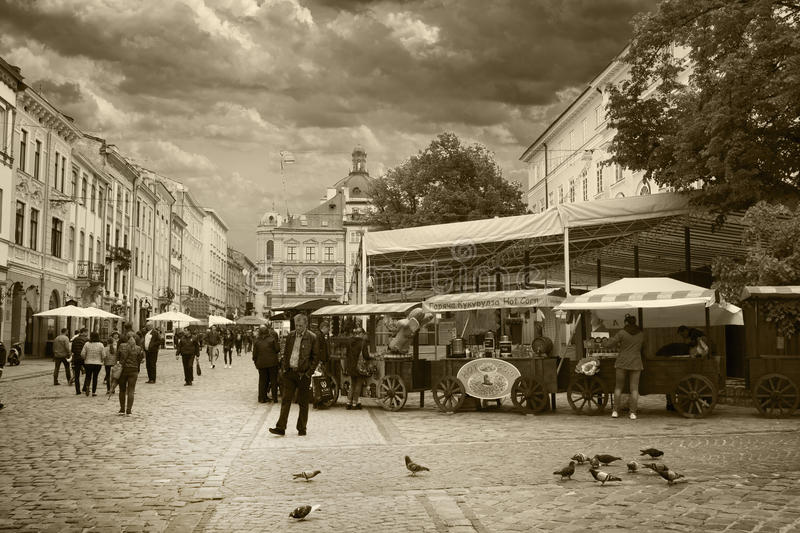 Festive Market Square in Lviv. LVIV, UKRAINE - MAY 8, 2016: A place called Market Square in the center of Lviv, Ukraine. This is the most visited part of the royalty free stock photo