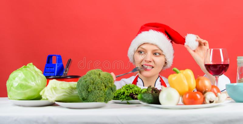 Festive menu concept. Christmas dinner idea. Healthy christmas holiday recipes. Woman chef or housewife cooking while stock images