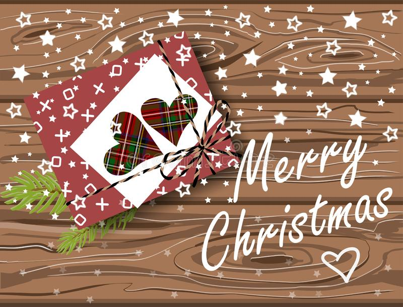Festive Merry Christmas card with gift box on wooden table and greeting lettering. Vector flat lay. Top view royalty free illustration