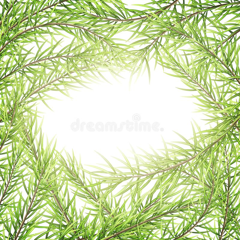 Festive Merry Christmas and Happy New Year greeting card template. Frame of tree branches. EPS 10 royalty free illustration