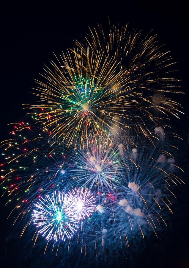 Festive multicolored salute on the background the dark night sky. Salute from the pyrotechnics royalty free stock photo