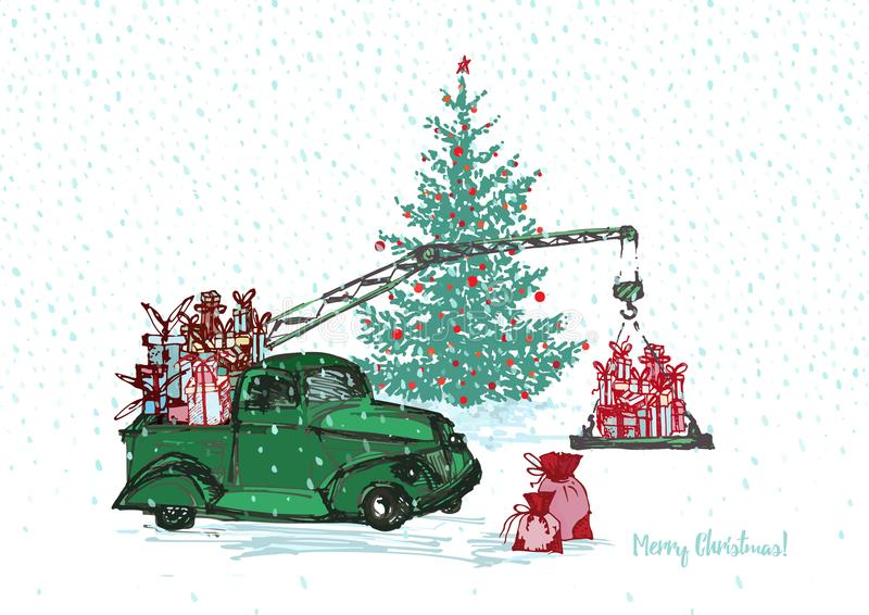 Festive New Year 2018 card. Green truck crane with fir tree decorated red balls and Christmas gifts isolated on white snowy royalty free illustration