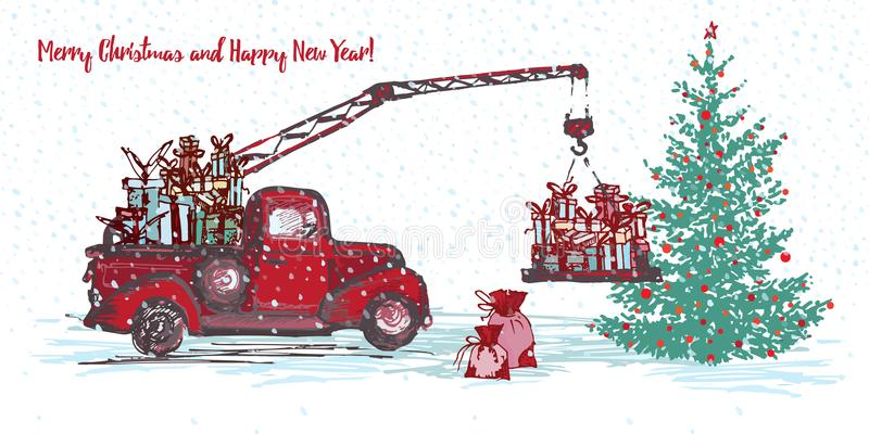 Festive New Year 2018 card. Red truck crane with fir tree decorated red balls royalty free illustration