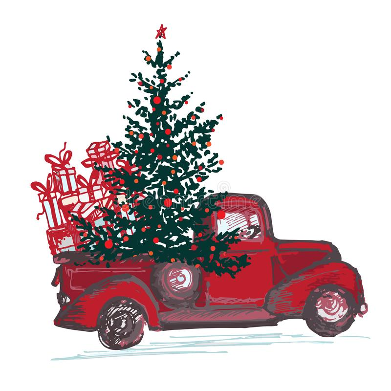 Festive New Year 2018 card. Red truck with fir tree decorated red balls isolated on white background. Vector illustrations royalty free illustration