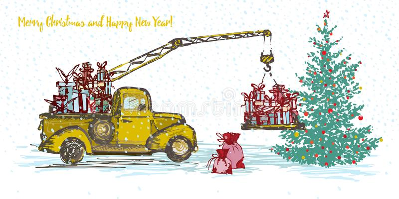 Festive New Year 2018 card. Yellow truck crane with fir tree decorated red balls royalty free illustration