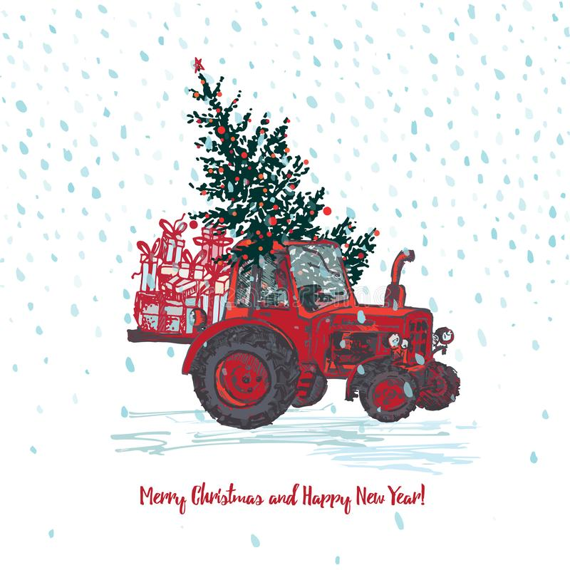 Festive New Year and Merry Christmas card. Red tractor with fir tree decorated red balls and holiday gifts White snowy. Seamless background. Vector royalty free illustration