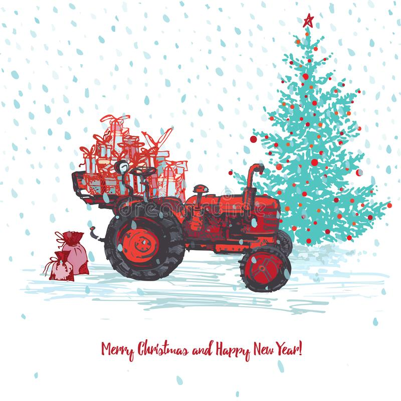 Festive New Year and Merry Christmas card. Red tractor with fir tree decorated red balls and holiday gifts White snowy. Seamless background. Vector stock illustration