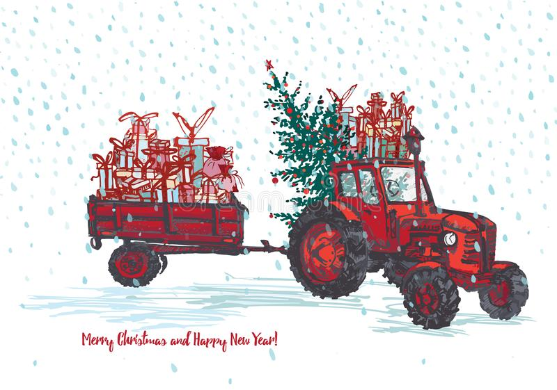 Festive New Year and Merry Christmas card. Red tractor with fir tree decorated red balls and holiday gifts White snowy. Seamless background. Vector vector illustration