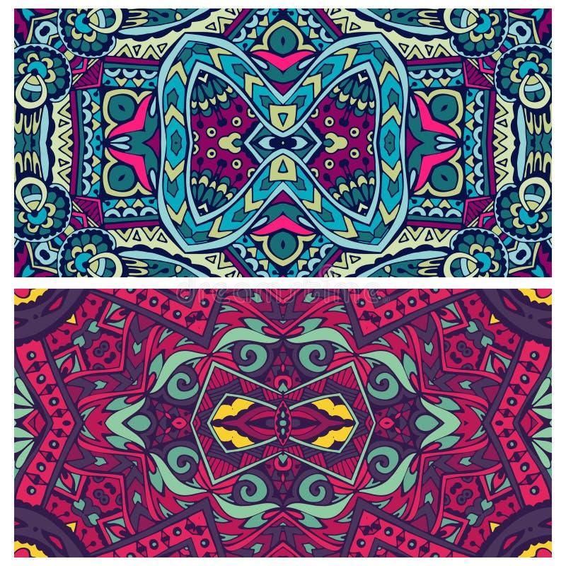 Festive ornamental colorful vector ethnic banner set. royalty free illustration