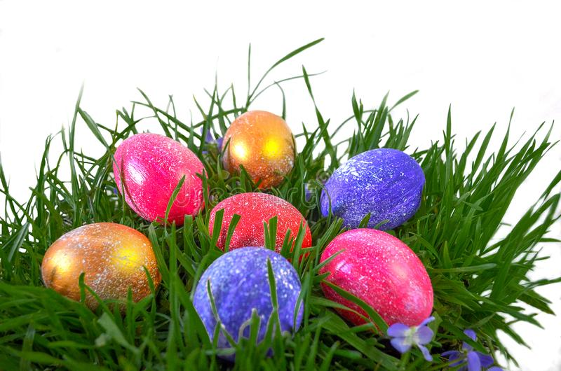 .Festive painted eggs for Easter royalty free stock image