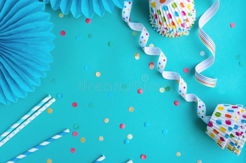 Festive party or birthday background.Top view. Festive party or birthday blue background royalty free stock photo