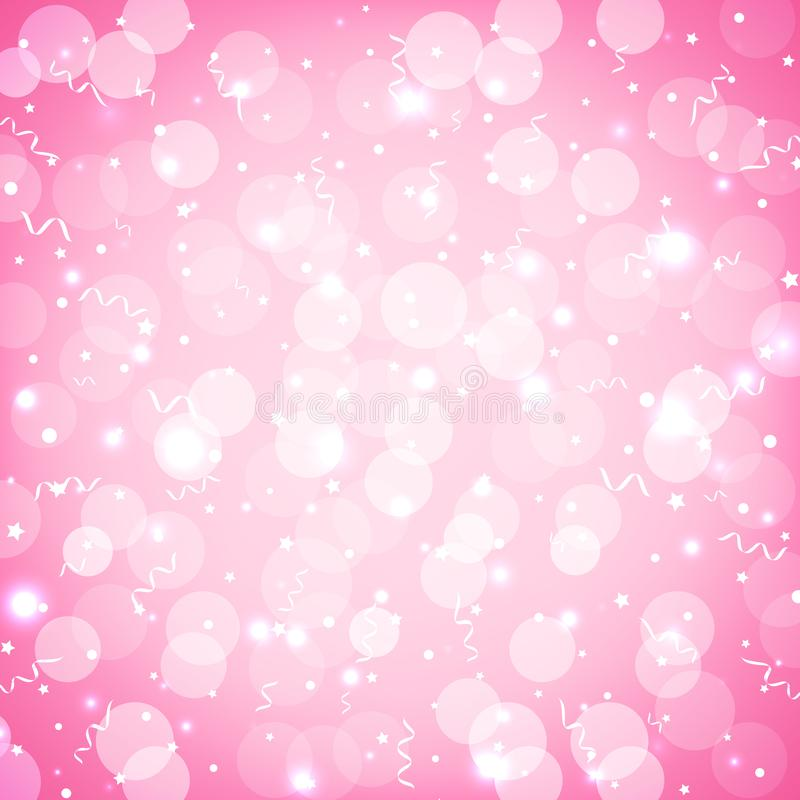 Festive party pink background with confetti, bokeh and serpentine. Soft pink pastel holiday background with sparkles. Vector royalty free illustration