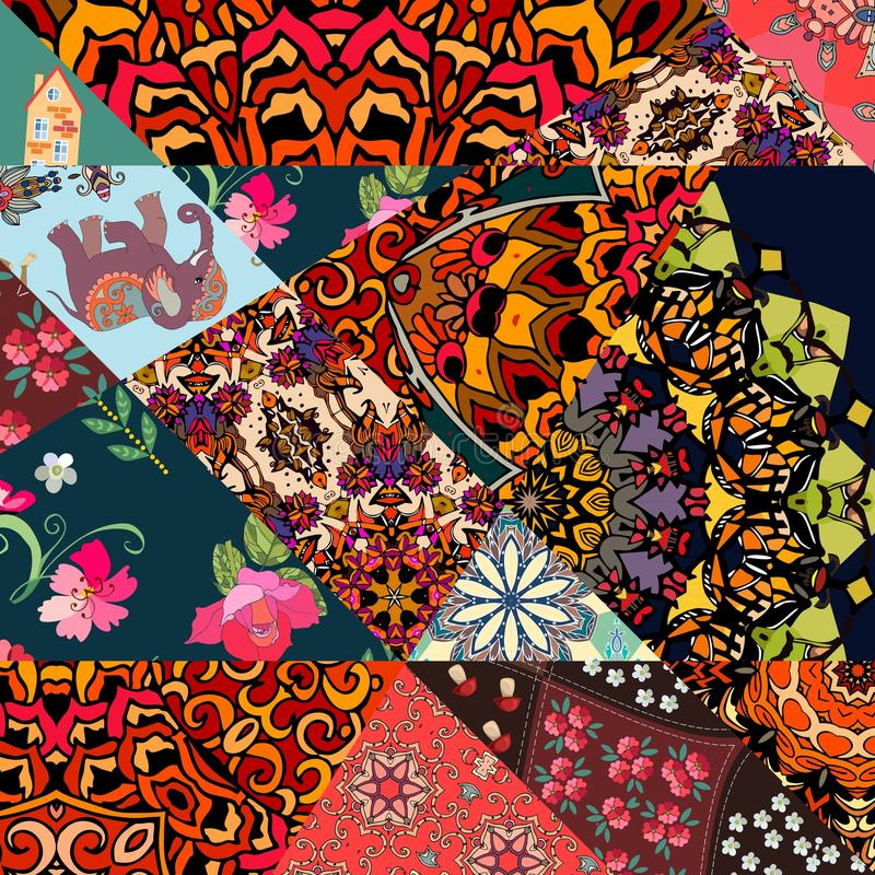 Festive patchwork pattern in indian style with flower - mandala, mallow, rose, house, elephant and abstract prints. royalty free illustration