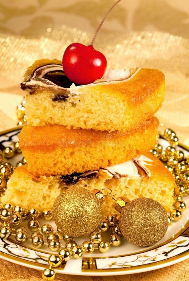 Festive pie and Christmas decor royalty free stock photo