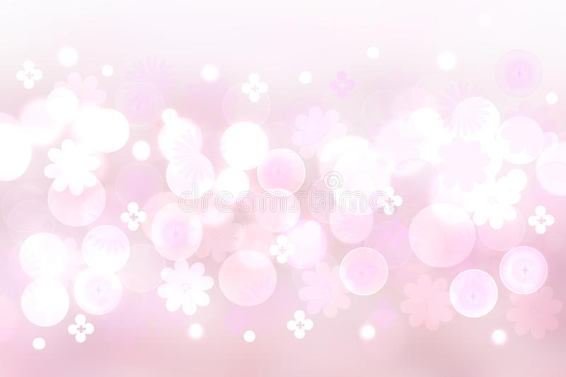 Festive pink bright abstract Bokeh background texture on pastel color tone gradient with abstract flowers and blossoms. Beautiful vector illustration