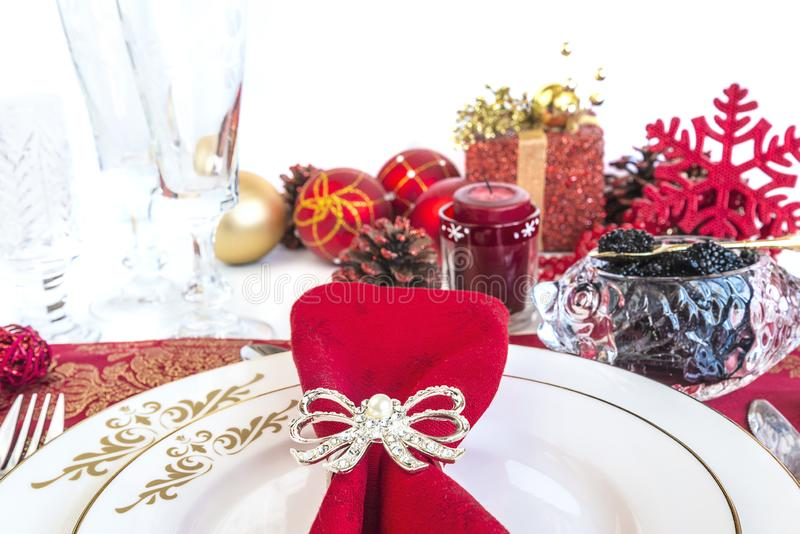 Festive place setting for christmas dinner stock images
