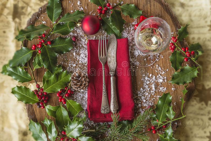 Festive place setting for christmas dinner stock photography