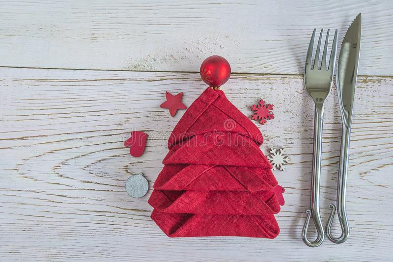 Festive place setting for christmas dinner stock image