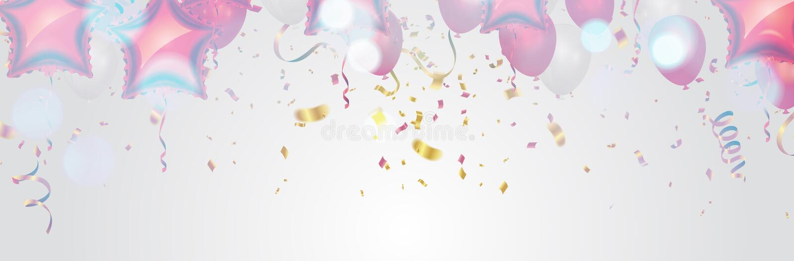 Festive poster with balloons and serpentine. Holiday decoration Vector background vector illustration