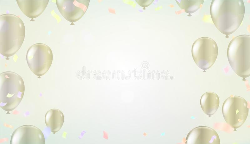 Festive poster with balloons and serpentine. Holiday decoration Vector background royalty free illustration