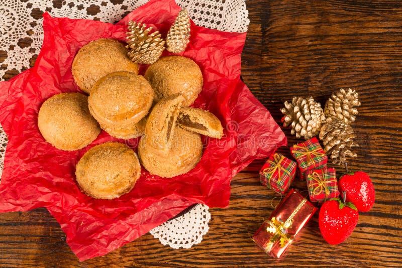 Festive pumpkin cookies for Christmas stock photo