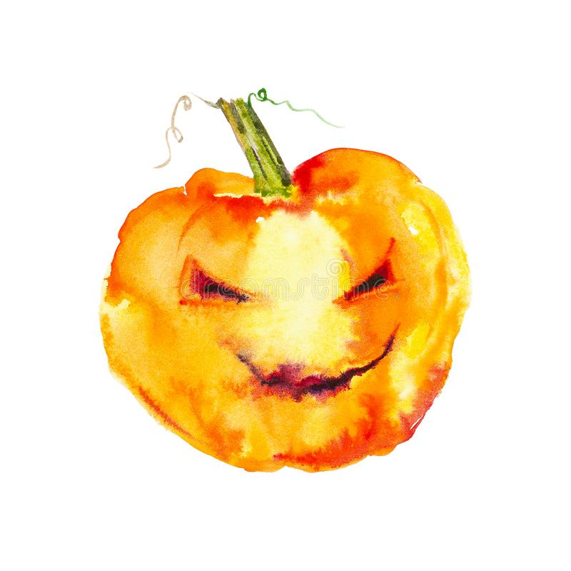 Festive pumpkin smiles on Halloween holiday .Watercolor illustration isolated on white background stock photos