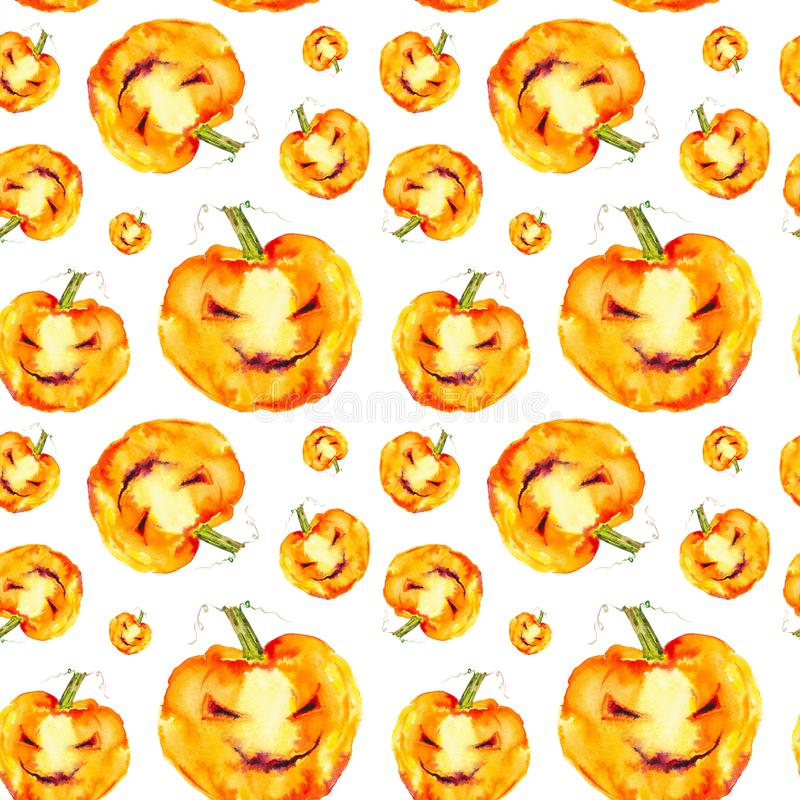 Festive pumpkin smiles on Halloween holiday. Watercolor illustration isolated on white background.Seamless pattern.  vector illustration