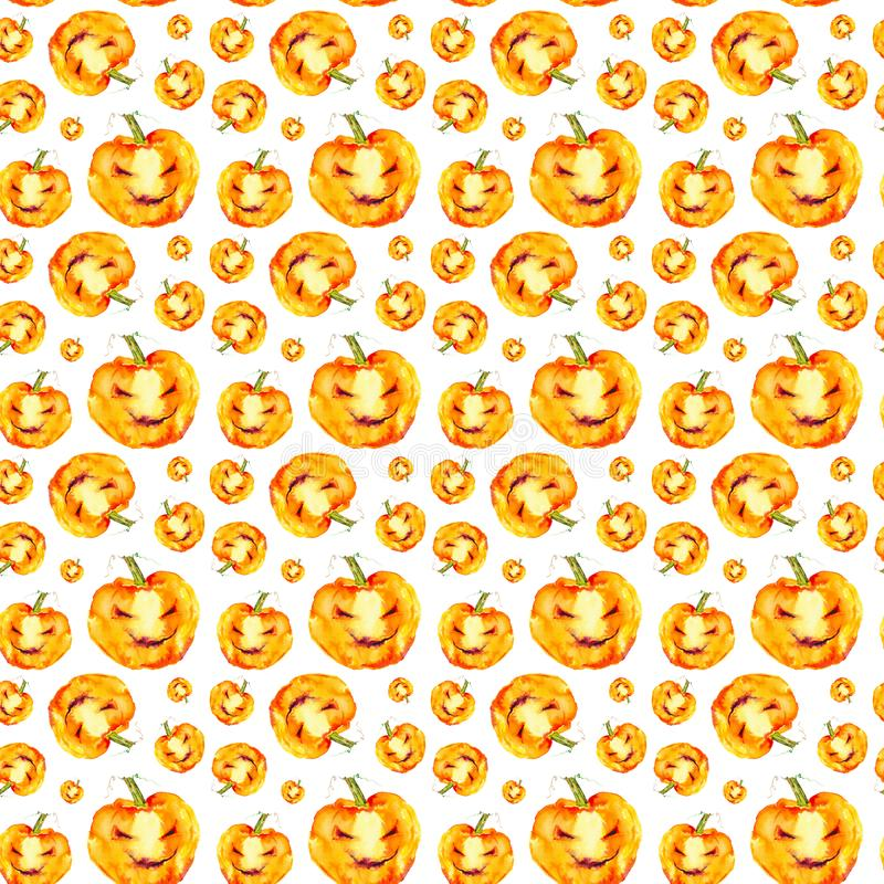 Festive pumpkin smiles on Halloween holiday. Watercolor illustration isolated on white background.Seamless pattern.  stock illustration