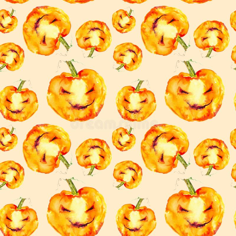 Festive pumpkin smiles on Halloween holiday. Watercolor illustration isolated on yellow background.Seamless pattern.  vector illustration