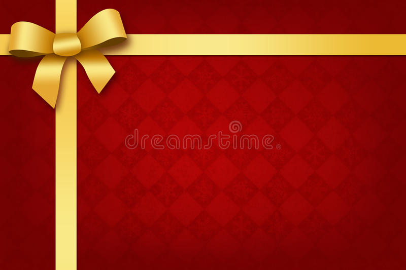 Festive red background with gold ribbon and bow vector illustration