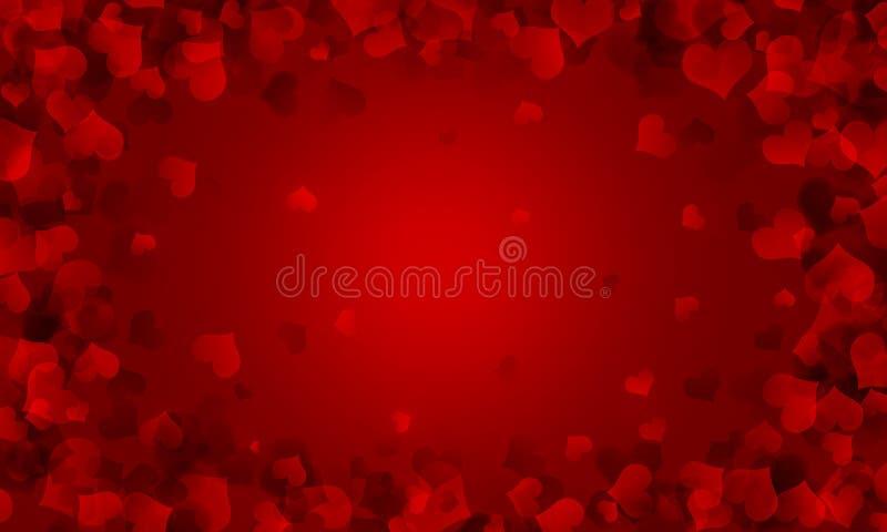 Festive red background, Valentijnsdag, romantisch, rood hart, liefde, bruiloft, gradiënt, blauw, helder, hartenframe, bokeh royalty-vrije illustratie
