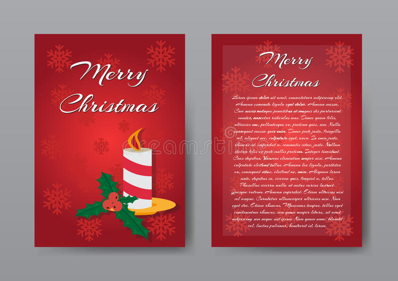 Festive Red Christmas Brochure , Greeting Card , Template. stock illustration