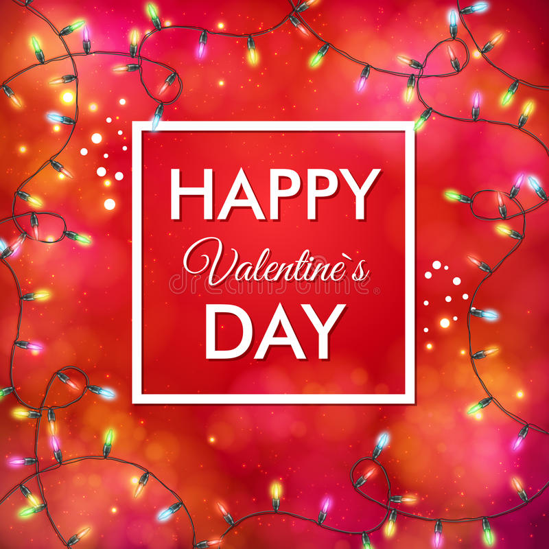 Festive red Valentines Day vector card design stock illustration