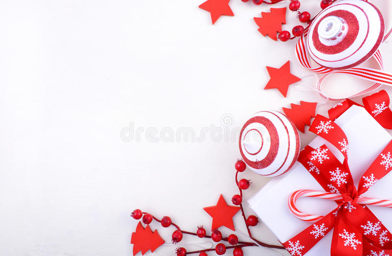 Festive red and white theme Christmas Holiday background stock photo