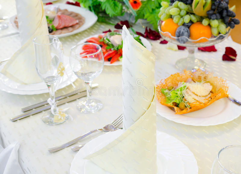 Festive restaurant table royalty free stock images
