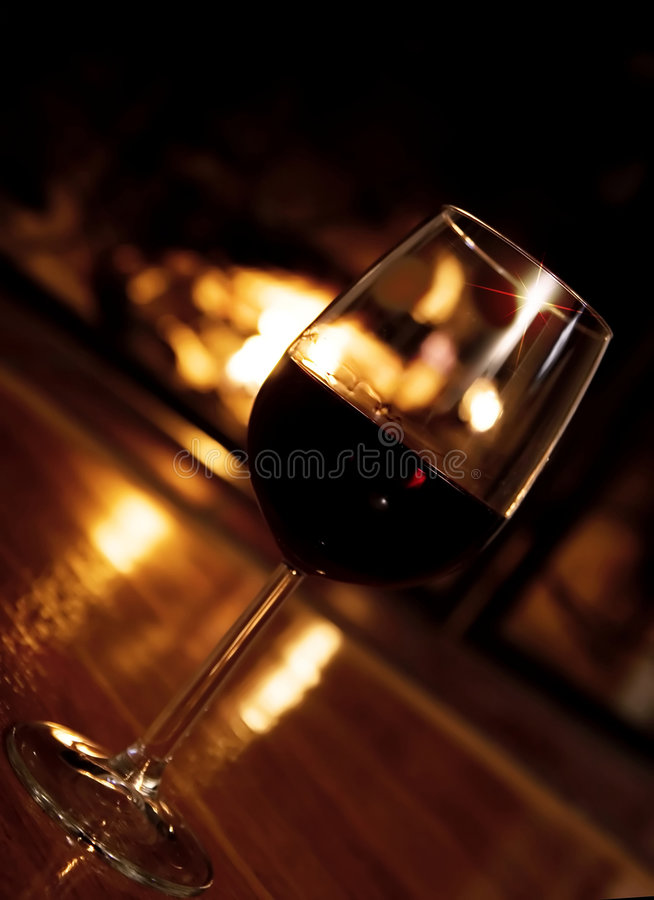 Festive romantic scene in front of the fireplace royalty free stock photo