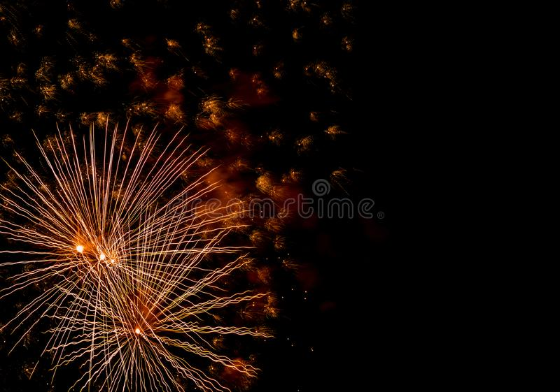 Festive salute in the night sky on victory day in the Russian Federation causing positive emotions in the population. 2019 stock image