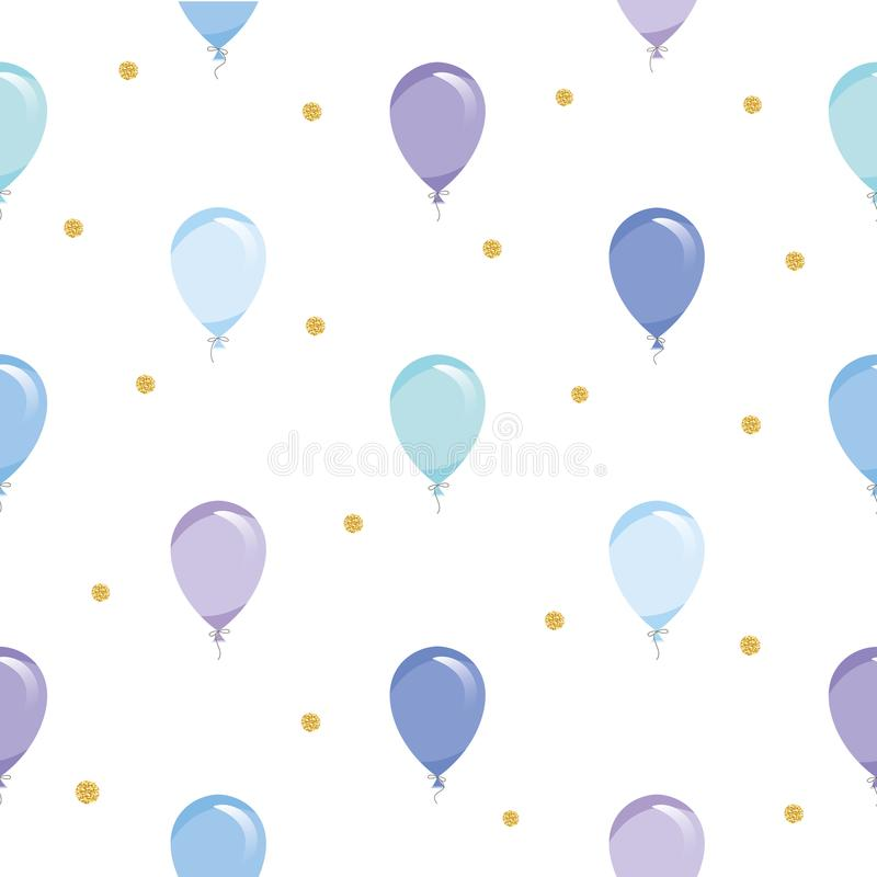 Festive seamless pattern background with balloons and glitter gold confetti. For holidays, birthday, baby shower design. royalty free illustration