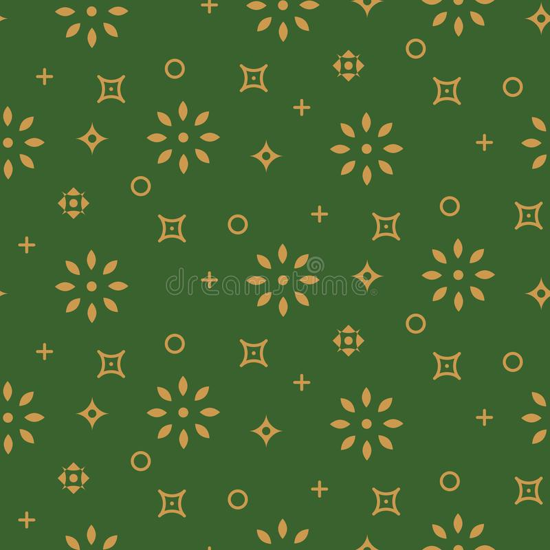 Free Festive Seamless Pattern Background Green And Gold Shapes In Retro Style. Stock Image - 131132021