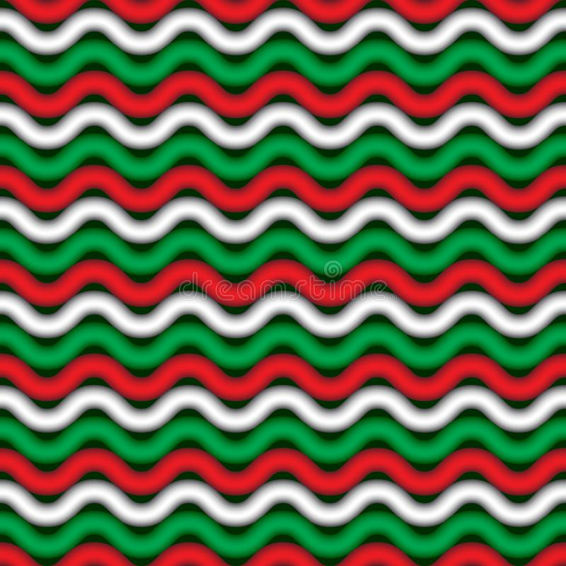Festive seamless pattern with bold red, green and white waves. Abstract background for any kind of New-Year, Christmas, X-mas , and other winter holidays vector illustration