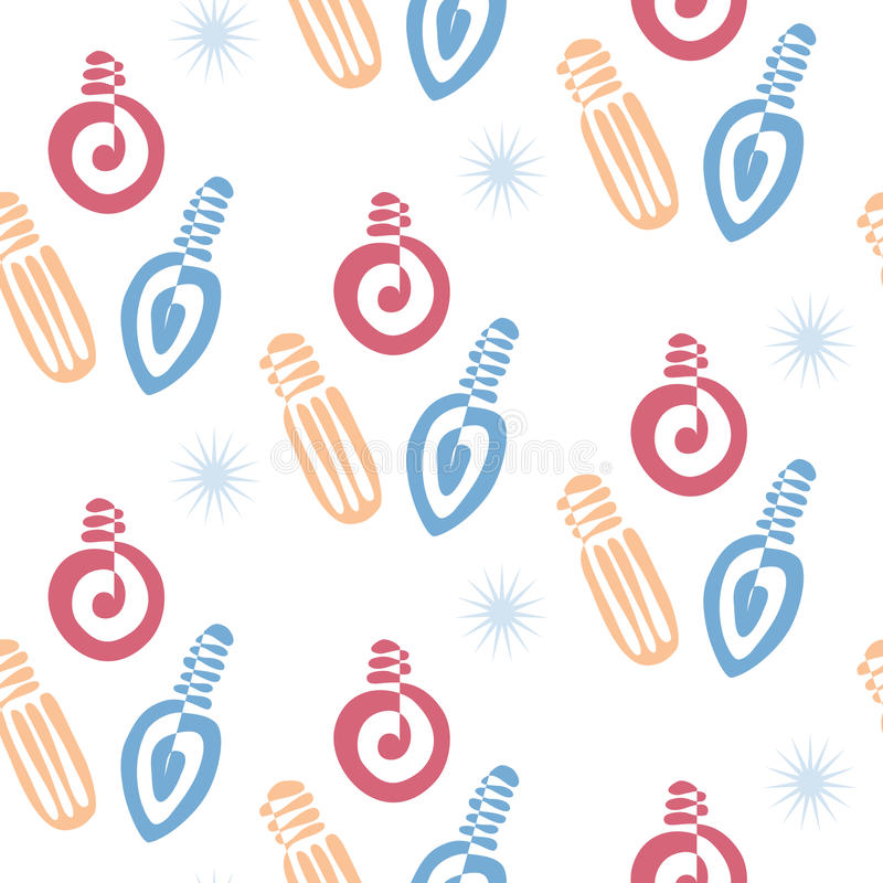 Festive Seamless Pattern with Bulbs Garlands royalty free stock photo