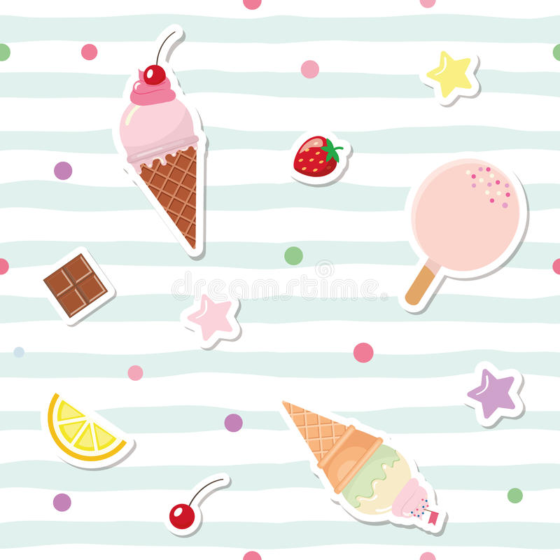 Festive seamless pattern with cute stickers on striped background. For birthday and scrapbook design. stock illustration