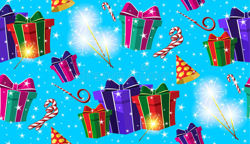 Festive seamless pattern with presents, sparklers, candies, pipes and party hats. stock illustration