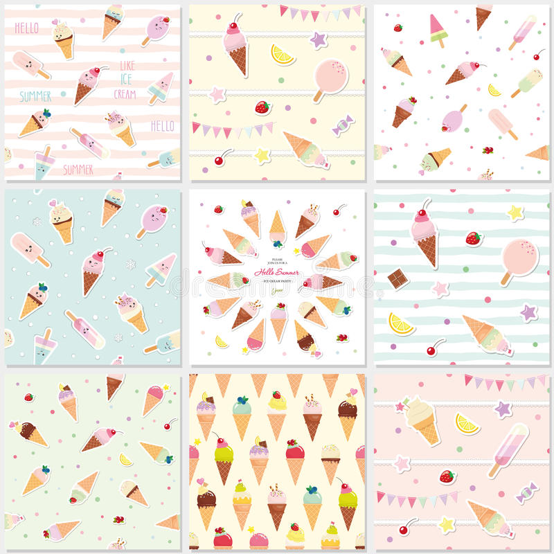 Festive seamless pattern set with sweets. Ice cream summer theme. royalty free illustration