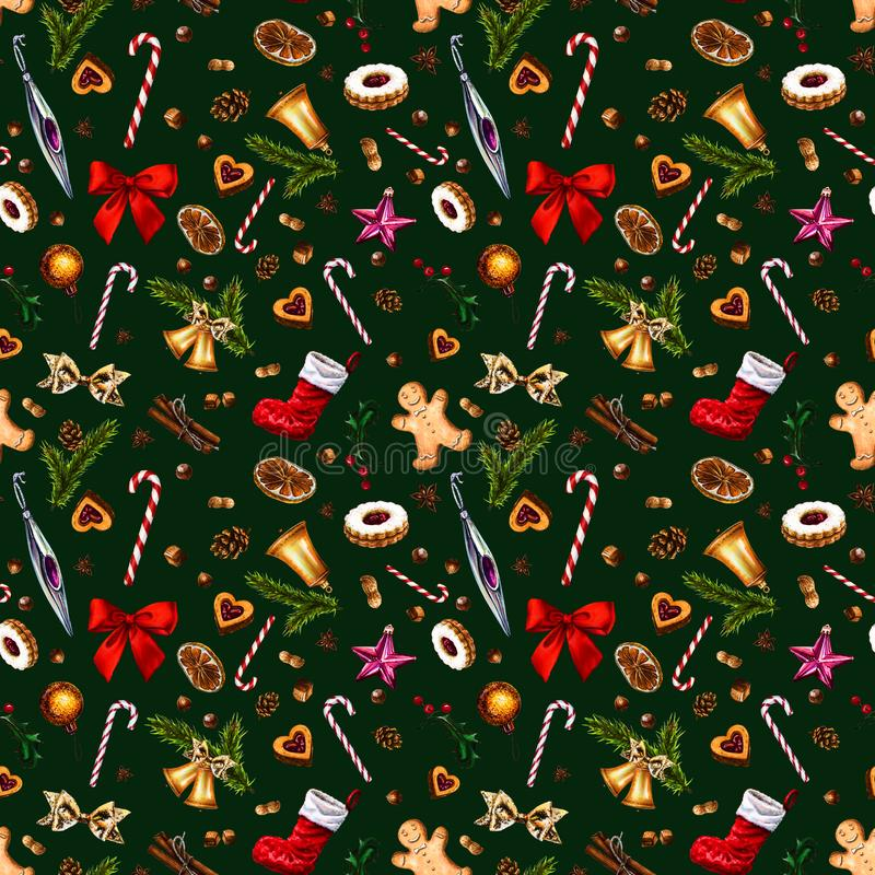 Festive seamless pattern with winter holiday attributes on dark green background. vector illustration
